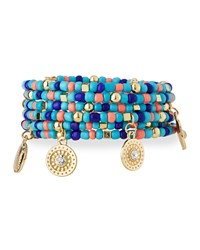 Emily And Ashley Greenbeads By Emily And Ashley Beaded Charm Wrap Bracelet Turquoise