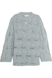 See By Chloe Open Knit Wool Blend Sweater Gray