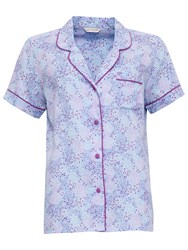 Cyberjammies Elsie Spot Print Short Sleeve Pyjama Top Blue Purple