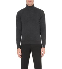 John Smedley Concealed Zip Merino Wool Jumper Charcoal