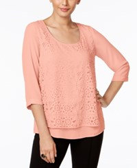 Ny Collection Eyelet Overlay Top Blossom