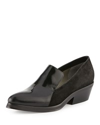Cnc Costume National Suede And Patent Leather Loafer Black