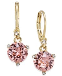 Kate Spade New York Gold Tone Pave And Pink Cubic Zirconia Drop Earrings