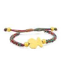 Tous Bear Charm Knotted Cord Bracelet Gold