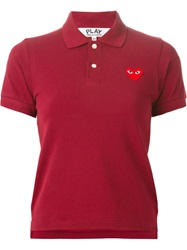 Comme Des Garcons Play Heart Print Polo Shirt Red