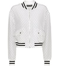 Dolce And Gabbana Polka Dotted Silk Bomber Jacket White
