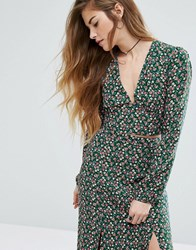 Nobody's Child Crop Top In Disty Floral Co Ord Green