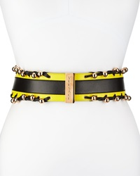Versace Wide Leather Colorblock Belt Black Yellow