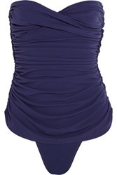Norma Kamali Ruched Bandeau Swimsuit Midnight Blue