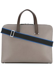 Furla Vulcano Business Tote Men Calf Leather Polyester One Size Grey
