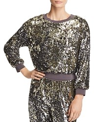 Alice Olivia Smith Sequined Cropped Sweatshirt Antique Silver