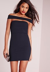 Missguided Cut Out Panel Bardot Bodycon Dress Navy Blue
