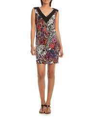 Trina Turk Charline Printed Floral Dress Black Multi