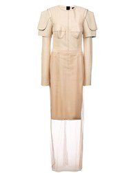 Vera Wang Structured Shoulders Layered Dress Nude And Neutrals