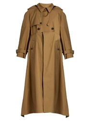Balenciaga Double Breasted Cotton Gabardine Trench Coat Camel