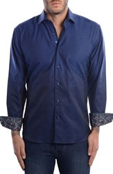 Bertigo Men's Abstract Modern Fit Sport Shirt Navy Blue