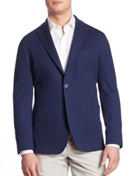 Saks Fifth Avenue Knit Checkered Jacket Navy