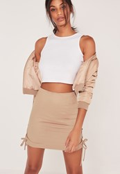Missguided Faux Suede Lace Up Side Mini Skirt Nude Brown