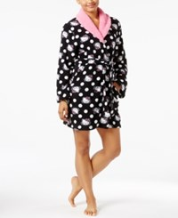 Hello Kitty Pretty In Plush Wrap Robe Black White Dots