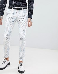Noose And Monkey Super Skinny Suit Pants In Printed Velvet White