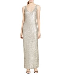 Ralph Lauren Sequined Sheath Gown Silver Metallic