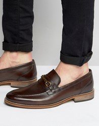 Asos Loafers In Brown Leather With Snaffle And Natural Sole Brown