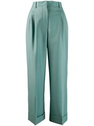 Fendi Flared Tailored Cropped Trousers Blue