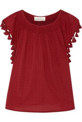 The Great Tassel Embellished Broderie Anglaise Cotton Top Claret