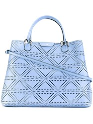 Emporio Armani Perforated Detail Tote Bag Pink Purple