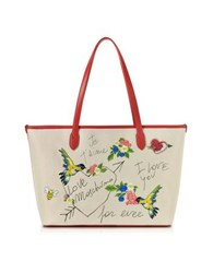 Love Moschino Natural Canvas And Red Eco Leather Tote W Embroidery I You Beige