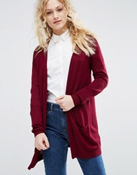 Asos Cardigan In Fine Knit In Soft Yarn Dark Red