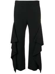 Genny Draped Cropped Trousers Black