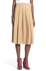 Junior Women's Painted Threads Pleated Midi Skirt Camel