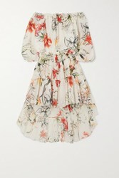 Alexander Mcqueen Asymmetric Ruffled Tiered Floral Print Cotton Voile Dress Ivory