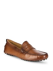 Saks Fifth Avenue Burnished Penny Loafers Havana
