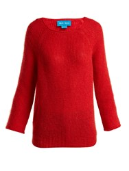 Mih Jeans Bowen Boat Neck Mohair Blend Sweater Red