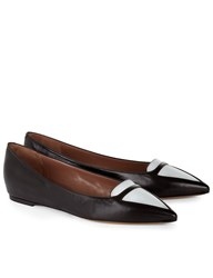 Tabitha Simmons Black Leather Pointed Alexa Flats Multi