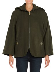 Betsey Johnson Wool Blend Cape Coat Forest Green