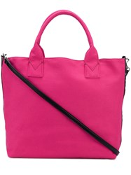 Pinko Embellished Branding Tote Bag Pink And Purple