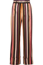 Petar Petrov Striped Silk Satin Wide Leg Pants Black