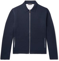 Berluti Mulberry Silk Blend Blouson Jacket Navy