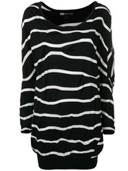 Y 3 Oversized Wavy Striped Sweater Black