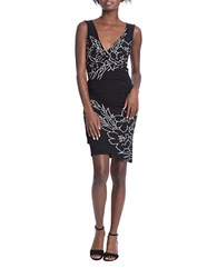 Tracy Reese Ruched Floral Jersey Dress Black