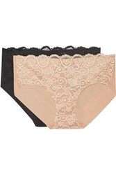 Commando Set Of Two Double Take Lace Paneled Stretch Briefs Neutral