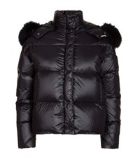 Forte Couture Quilted Fur Hood Jacket Black
