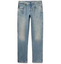 Gucci Slim Fit Distressed Stonewashed Denim Jeans Light Denim