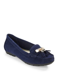Anne Klein Oates Leather Loafers Navy Blue