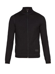 Prada Zip Through Wool Sweater Black