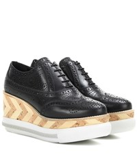 Miu Miu Leather Platform Brogues Black