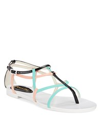 Pollini Leather Thong Sandals Black Pink Blue